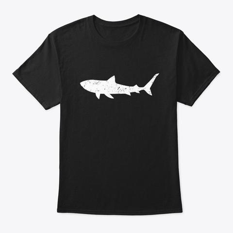 Vintage Distressed Style Tiger Shark Black T-Shirt Front