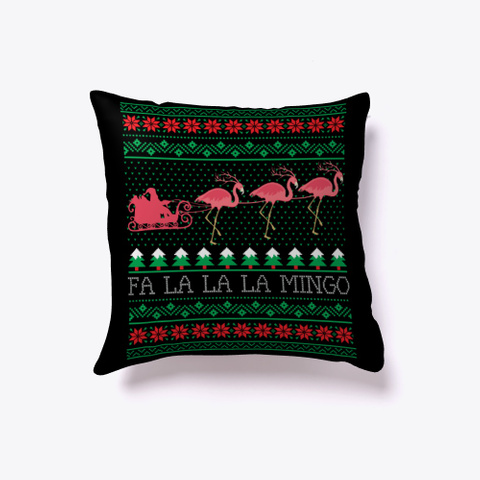 Funny Flamingo Ugly Christmas Sweater Black T-Shirt Front