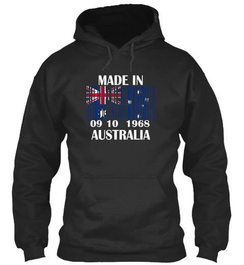 Made In 09 10 1968 Australia Jet Black T-Shirt Front