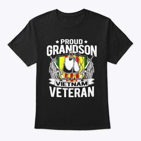 Proud Grandson Of Vietnam Veteran Shirt Black T-Shirt Front