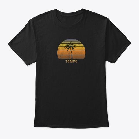 Retro Tempe Arizona Vintage Sunset Black T-Shirt Front