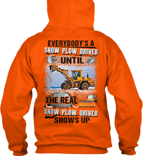 Snow Plow Driver Christmas Special Safety Orange T-Shirt Back