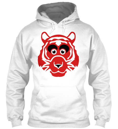 Tiger Drawing Funny Animals 511 White T-Shirt Front