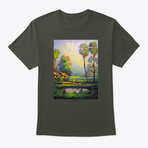 Countryside, Cambodia Landscape Tee Smoke Gray T-Shirt Front
