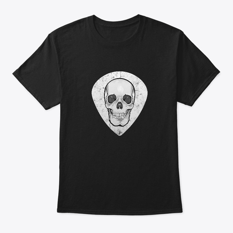 Guitar Pick With Skull  Black T-Shirt Front