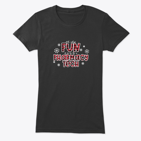 Christmas Pt Pharmacy Tech Technician Vintage Black T-Shirt Front