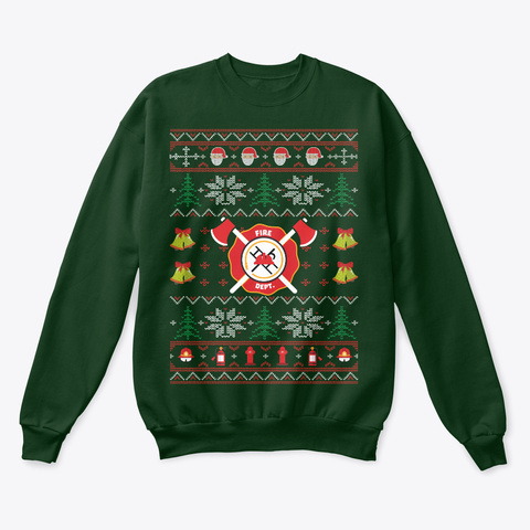 Firefighter Ugly Christmas Sweater Deep Forest  T-Shirt Front