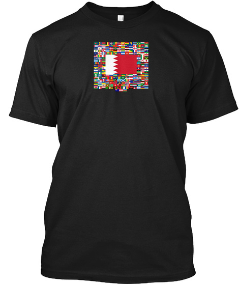 Bahrain Flag All Flag In The World Black T-Shirt Front