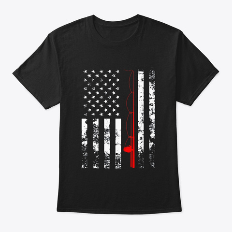 American Flag Fishing Rod Usa Patriotic Black T-Shirt Front