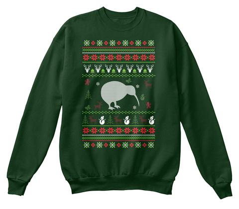 Kiwi Bird Ugly Christmas Sweater Deep Forest  T-Shirt Front