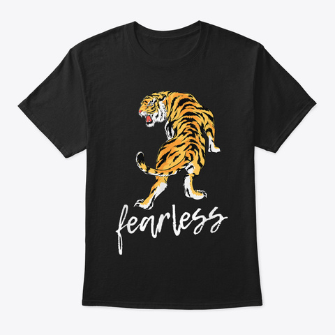 Fearless Brave Japanese Tiger Gift T Shi Black T-Shirt Front