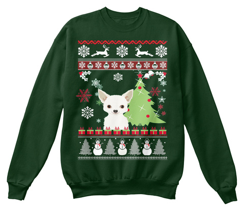 Chihuahua Ugly Christmas Sweater  Deep Forest  T-Shirt Front