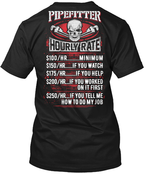 Awesome Pipefitter Shirt Black T-Shirt Back