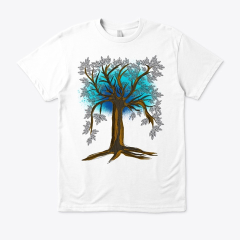 Tree Art White T-Shirt Front