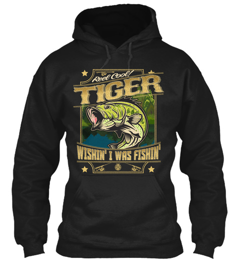 Tiger Fishing Gift Black T-Shirt Front