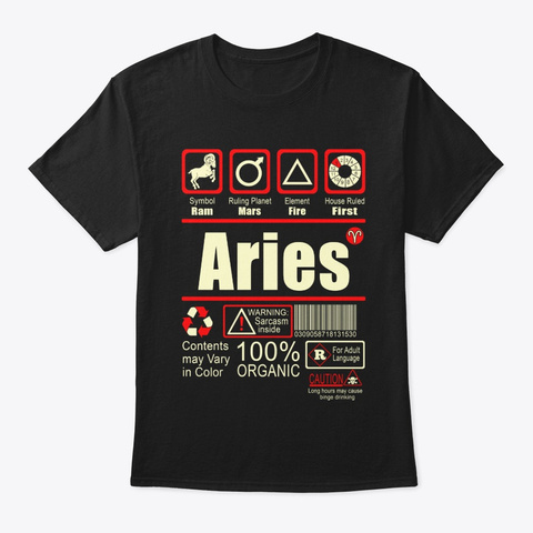 Aries Zodiac Sign, Black T-Shirt Front