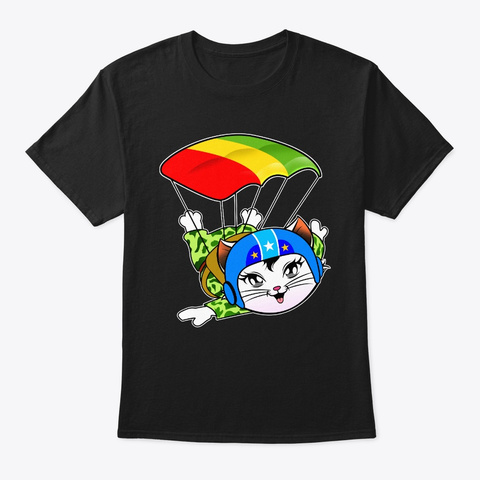 Pretty Colorful Cat Skydiving Black T-Shirt Front