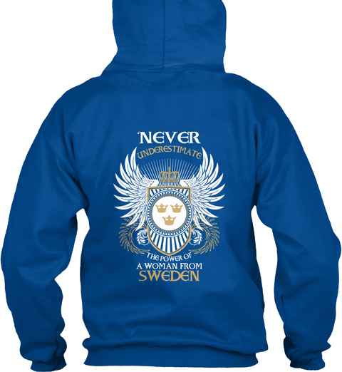 Woman From Sweden Royal T-Shirt Back