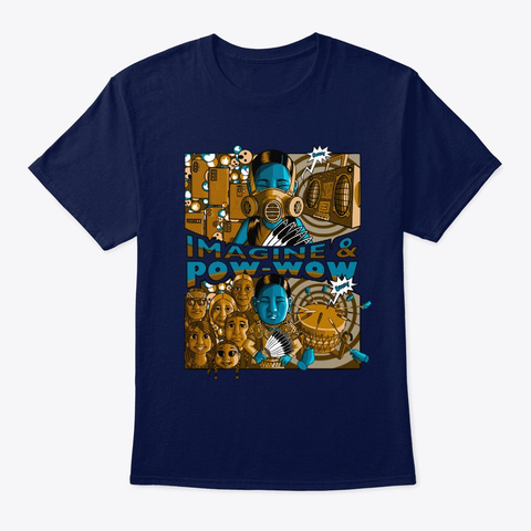 Imagine & Pow Wow   Jingle Dress Navy T-Shirt Front