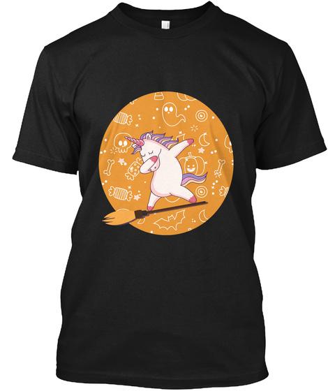 Cute Halloween Dabbing Unicorn Black T-Shirt Front