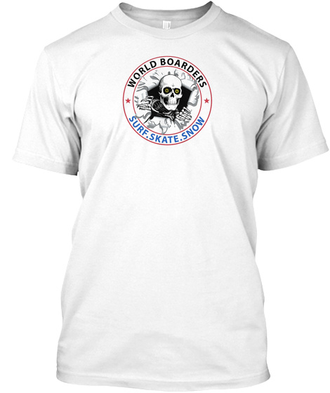 Epic World Boarders   Skull T Shirts White T-Shirt Front
