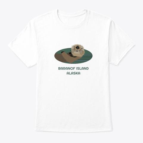 Baranof Island Ak Otter Pnw Tribal White T-Shirt Front