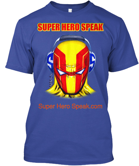 Super Hero Speak Super Hero Speak.Com Deep Royal T-Shirt Front