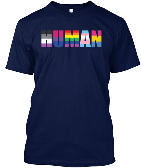 Human Navy T-Shirt Front