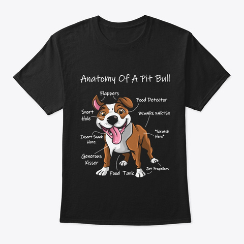Anatomy Of A Pit Bull Black T-Shirt Front