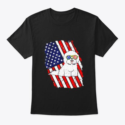 Bichon Frise American Flag T Shirt Black T-Shirt Front