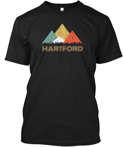 Retro City Of Hartford Mountain Shirt Black T-Shirt Front