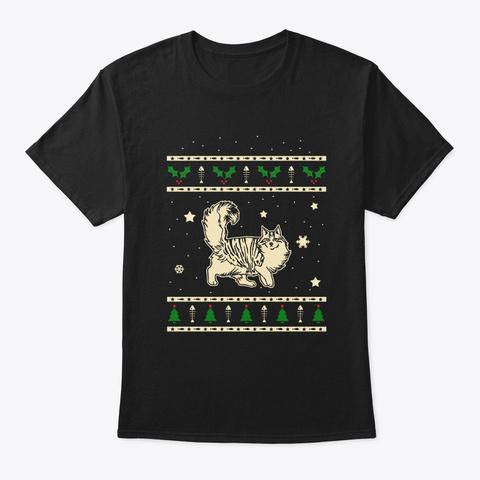Christmas Norwegian Forest Gift Black T-Shirt Front