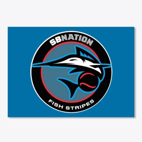 Fish Stripes Sticker Royal Blue T-Shirt Front
