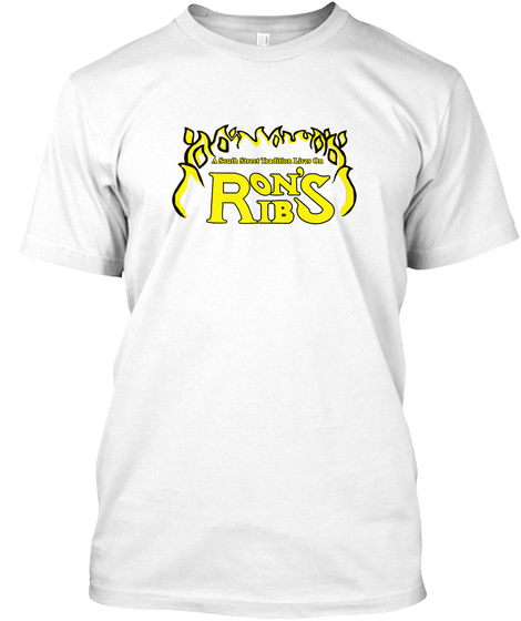 Classic Yellow Ron's Ribs Logo White T-Shirt Front