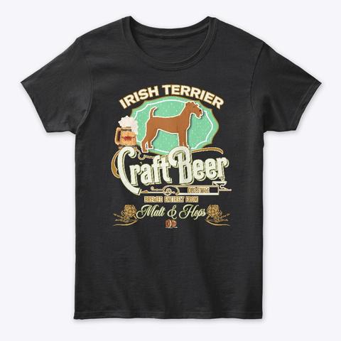 Irish Terrier Gifts Dog Beer Lover Black T-Shirt Front