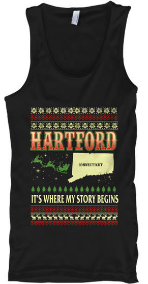 Hartford Connecticut It's Where My Story Begins Black T-Shirt Front