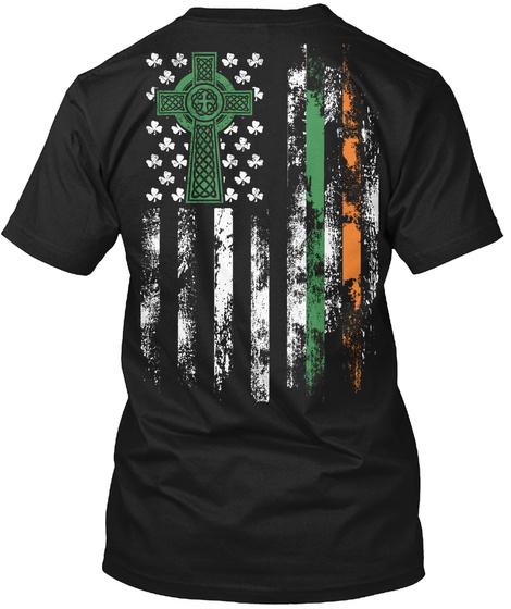Irish American Flag Tshirt! Black T-Shirt Back