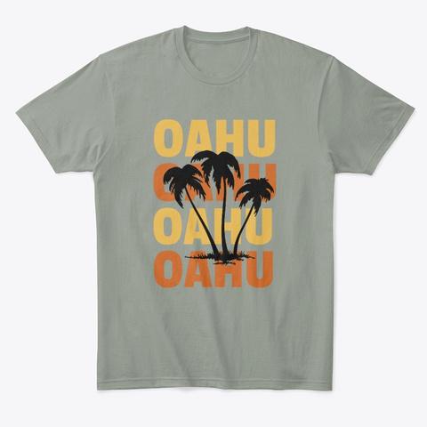 Hawaiian Islands Surf Style Palm Trees Grey T-Shirt Front