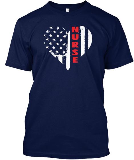 American Flag Patriotic Nurse T Shirt Navy T-Shirt Front