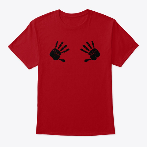Place Hands Here Deep Red T-Shirt Front