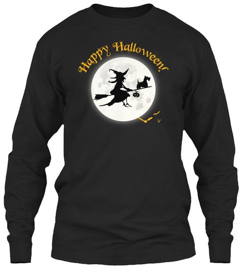 Happy Halloween Black Long Sleeve T-Shirt Front
