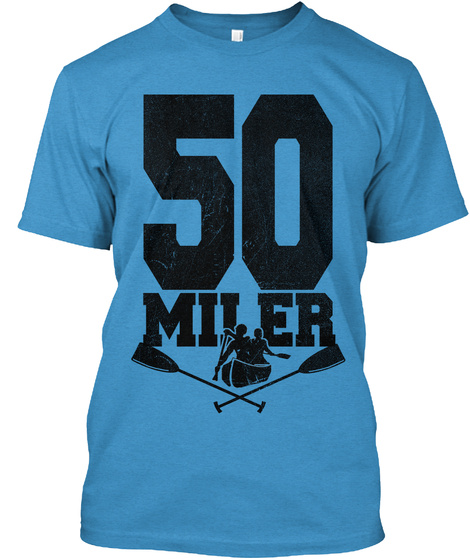 50 Miler Heathered Bright Turquoise  T-Shirt Front
