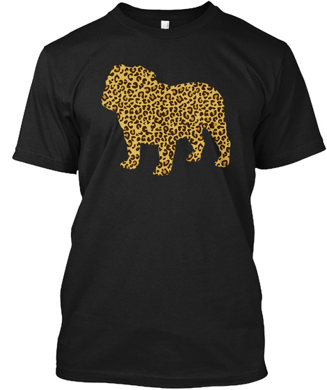 Bulldog Leopard Pattern Black T-Shirt Front