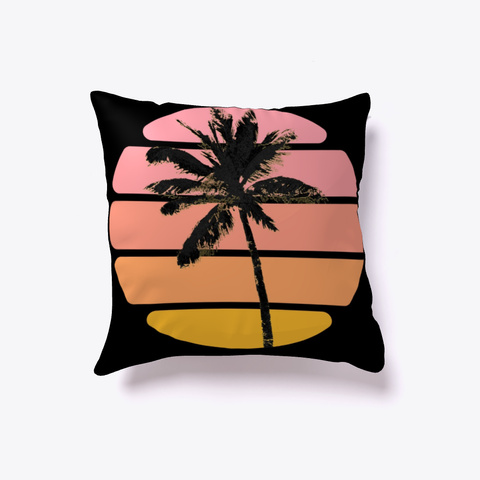 Tropical Palm Tree Black And Pink Black T-Shirt Front