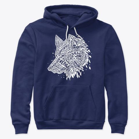 White Wolf Word Art Navy T-Shirt Front