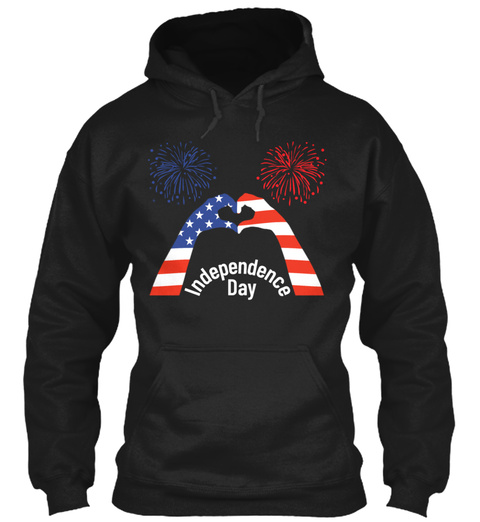 Independence Day T Shirt Heart With Hand Black Sweatshirt Front