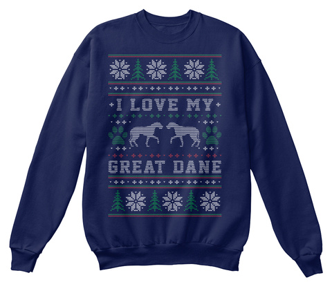 Great Dane Christmas T Shirt Navy  T-Shirt Front