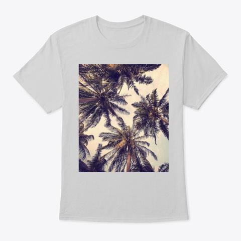 Aloha Beaches Hawaii Surfing Palms Light Steel T-Shirt Front