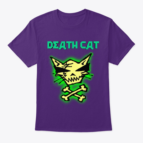 Death Cat Logo Purple T-Shirt Front