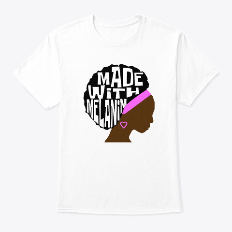 Pretty Black Educated Women Afro Queen White T-Shirt Front